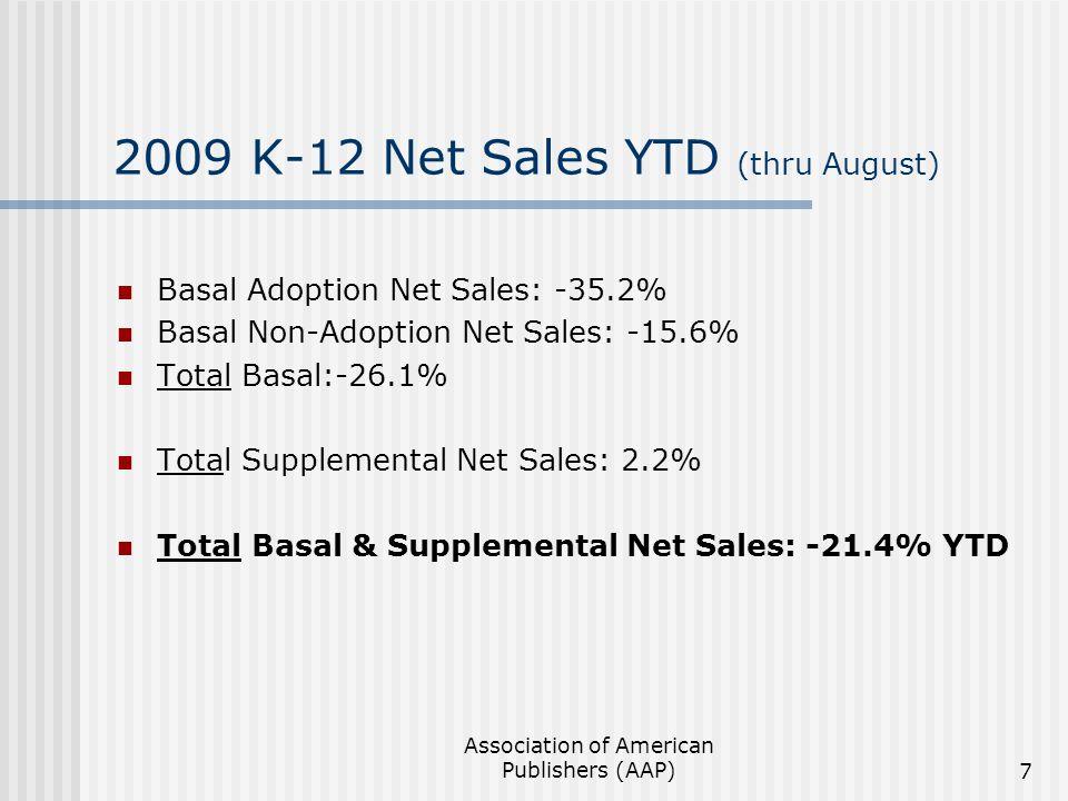 Association of American Publishers (AAP)7 2009 K-12 Net Sales YTD (thru August) Basal Adoption Net Sales: -35.2% Basal Non-Adoption Net Sales: -15.6%