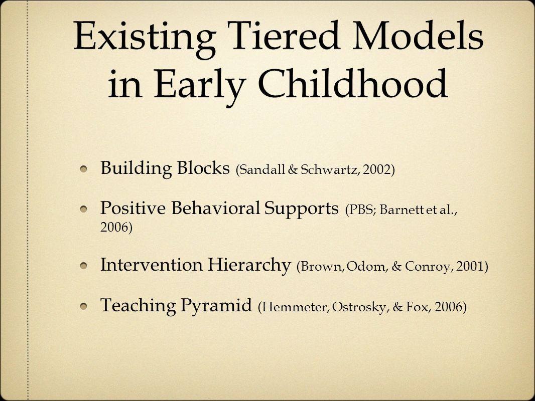 Existing Tiered Models in Early Childhood Building Blocks (Sandall & Schwartz, 2002) Positive Behavioral Supports (PBS; Barnett et al., 2006) Intervention Hierarchy (Brown, Odom, & Conroy, 2001) Teaching Pyramid (Hemmeter, Ostrosky, & Fox, 2006)