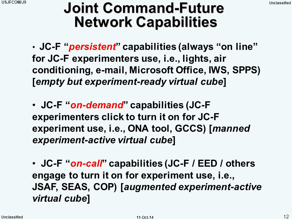 """USJFCOM/J9 Unclassified 12 Unclassified 11-Oct-14 Joint Command-Future Network Capabilities JC-F """"persistent"""" capabilities (always """"on line"""" for JC-F"""
