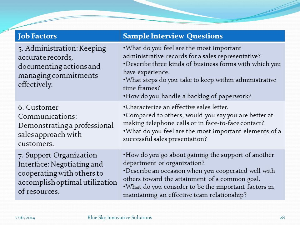 7/16/2014Blue Sky Innovative Solutions28 Job FactorsSample Interview Questions 5. Administration: Keeping accurate records, documenting actions and ma