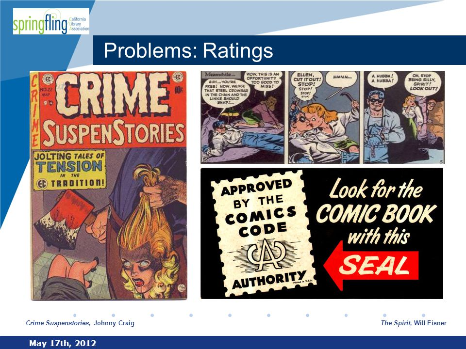 www.company.com Problems: Ratings May 17th, 2012 Crime Suspenstories, Johnny CraigThe Spirit, Will Eisner