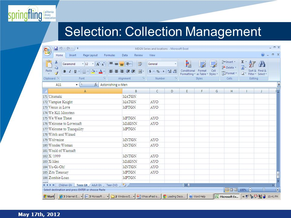 www.company.com Selection: Collection Management May 17th, 2012