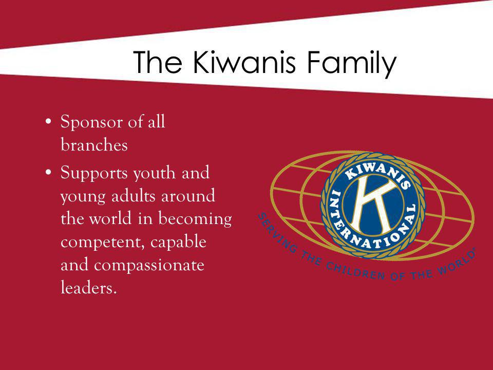 The Kiwanis Family Sponsor of all branches Supports youth and young adults around the world in becoming competent, capable and compassionate leaders.