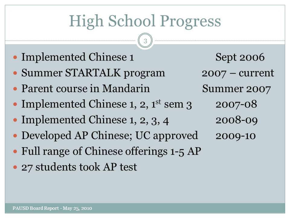 High School Progress Implemented Chinese 1 Sept 2006 Summer STARTALK program 2007 – current Parent course in Mandarin Summer 2007 Implemented Chinese 1, 2, 1 st sem 32007-08 Implemented Chinese 1, 2, 3, 42008-09 Developed AP Chinese; UC approved2009-10 Full range of Chinese offerings 1-5 AP 27 students took AP test 3 PAUSD Board Report - May 25, 2010
