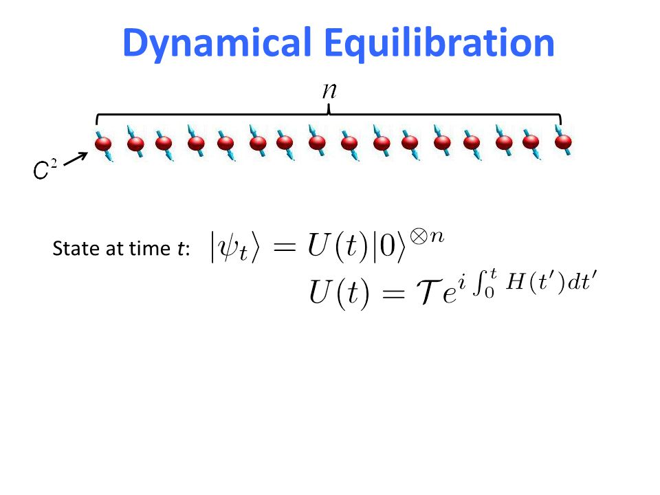 Warm-up: Equilibration for Haar Random Unitaries Let and We have But So for SScSc (Page '93) only second moments needed Haar measure
