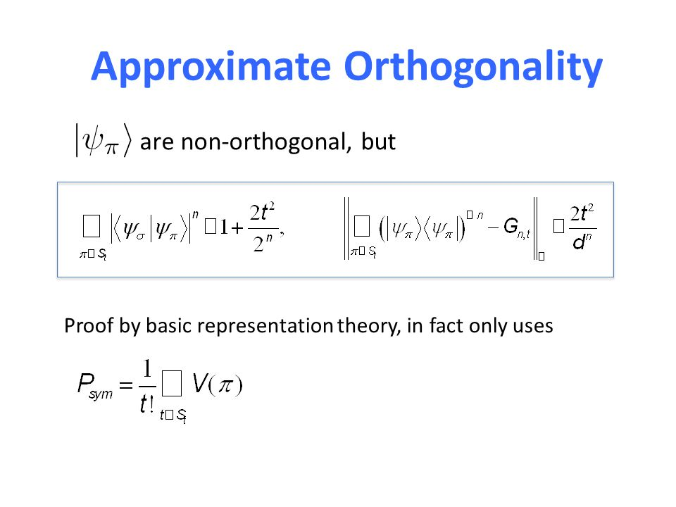 Approximate Orthogonality are non-orthogonal, but Proof by basic representation theory, in fact only uses