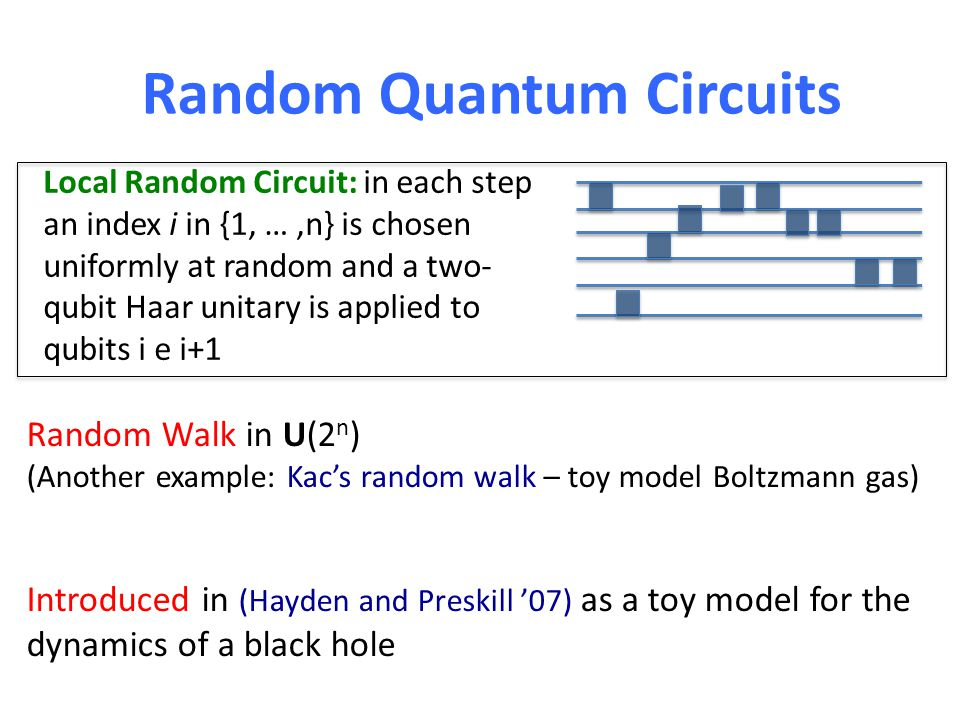 Parallel Random Quantum Circuits Parallel Local Random Circuit: in each step n/2 independent Haar two-qubit gates are applied to either ((1, 2), (3, 4), …,(n-1,n)) or ((2, 3), (4, 5), …,(n-2,n-1)) Discrete version of with random H(t) = H 12 (t) + H 23 (t) + … + H nn-1 (t)
