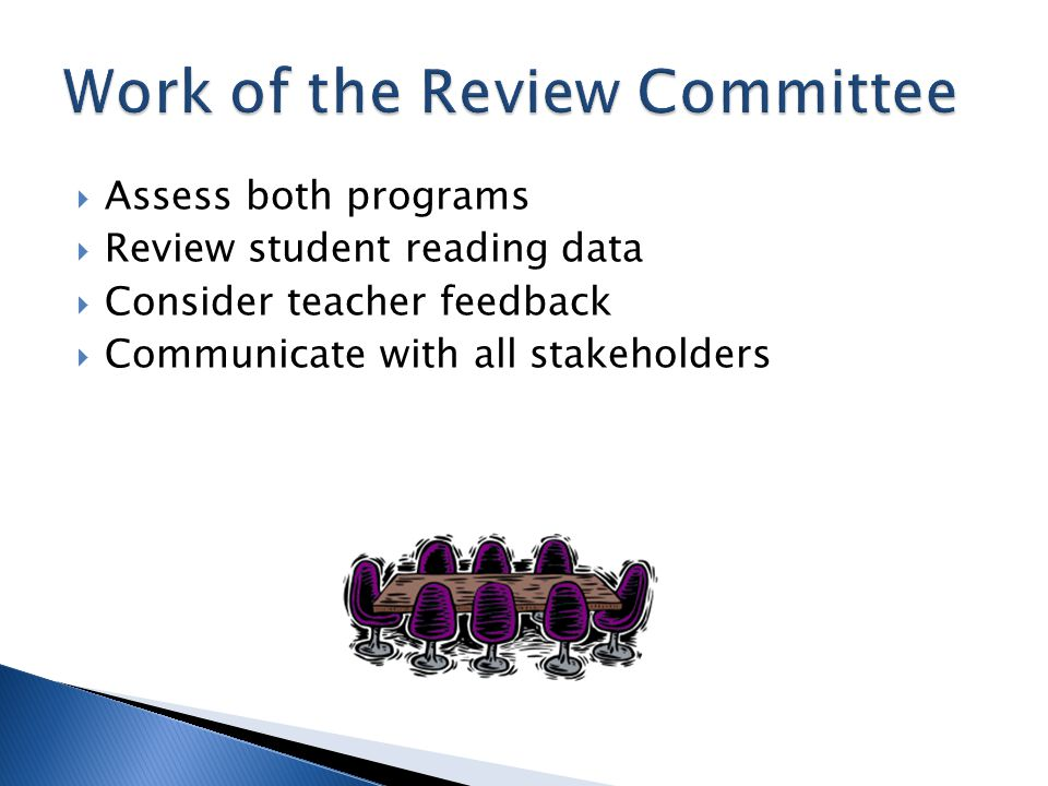  Assess both programs  Review student reading data  Consider teacher feedback  Communicate with all stakeholders