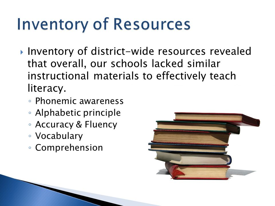  Inventory of district-wide resources revealed that overall, our schools lacked similar instructional materials to effectively teach literacy.