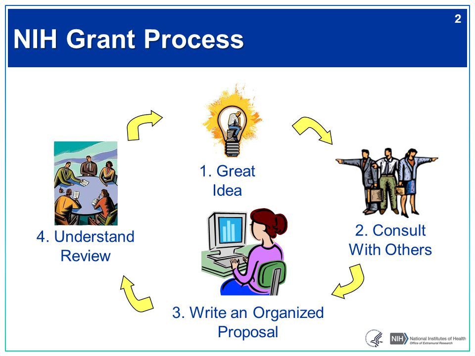 NIH Grant Process 1. Great Idea 2. Consult With Others 3. Write an Organized Proposal 4. Understand Review 2