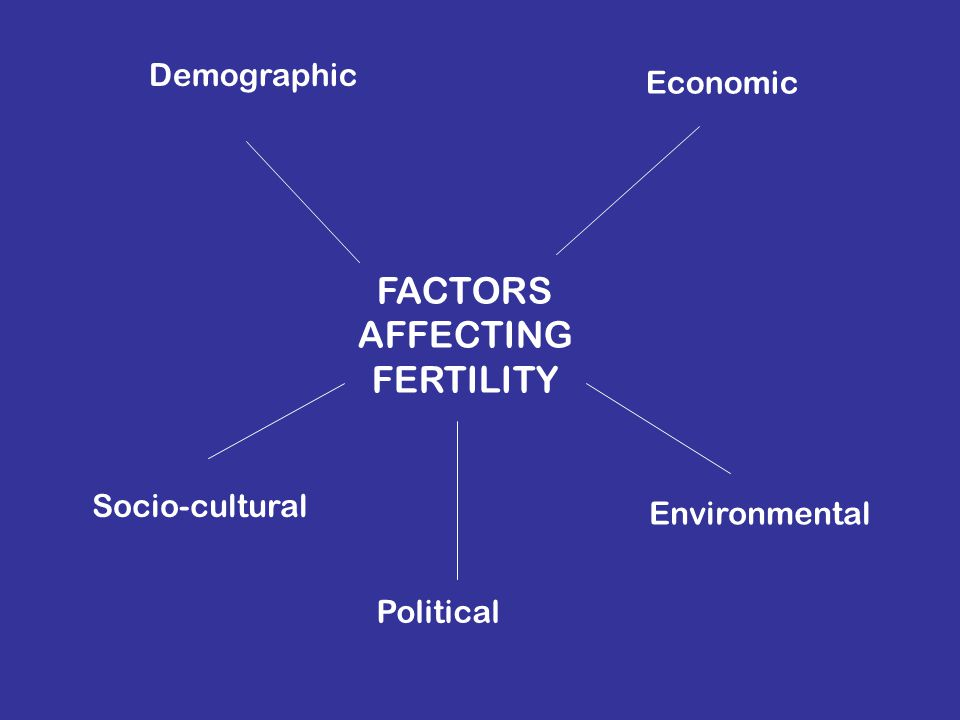 FACTORS AFFECTING FERTILITY Demographic Economic Socio-cultural Political Environmental