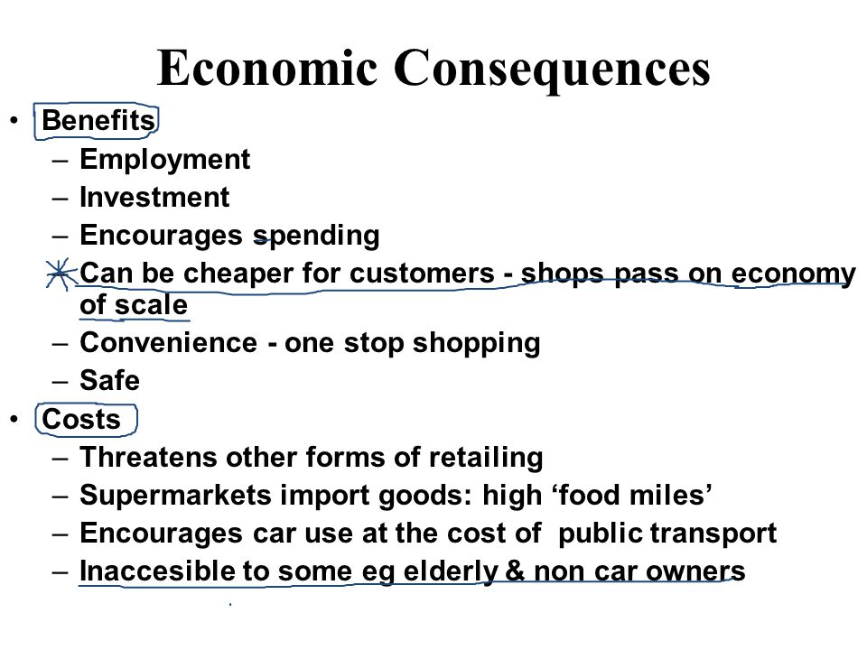 Economic Consequences Benefits –Employment –Investment –Encourages spending –Can be cheaper for customers - shops pass on economy of scale –Convenienc