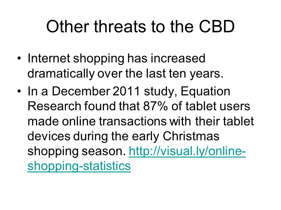 Other threats to the CBD Internet shopping has increased dramatically over the last ten years.