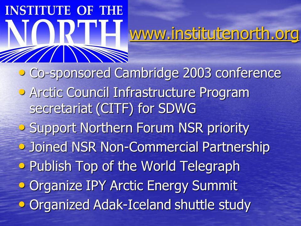 www.institutenorth.org www.institutenorth.orgwww.institutenorth.org Co-sponsored Cambridge 2003 conference Co-sponsored Cambridge 2003 conference Arct