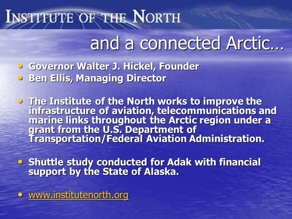 and a connected Arctic… and a connected Arctic… Governor Walter J. Hickel, Founder Governor Walter J. Hickel, Founder Ben Ellis, Managing Director Ben