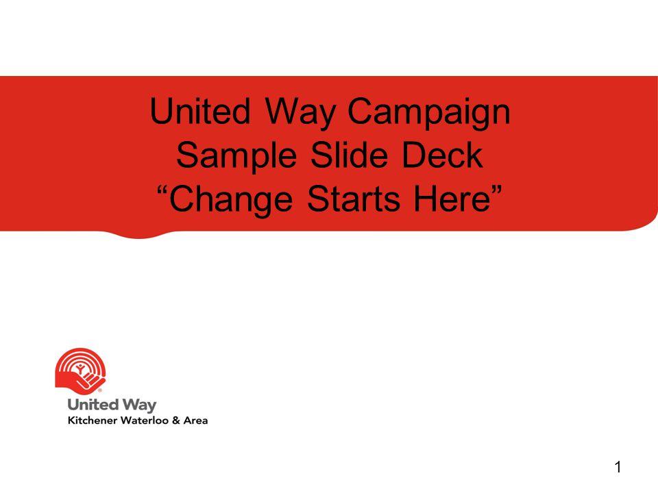 "United Way Campaign Sample Slide Deck ""Change Starts Here"" 1"