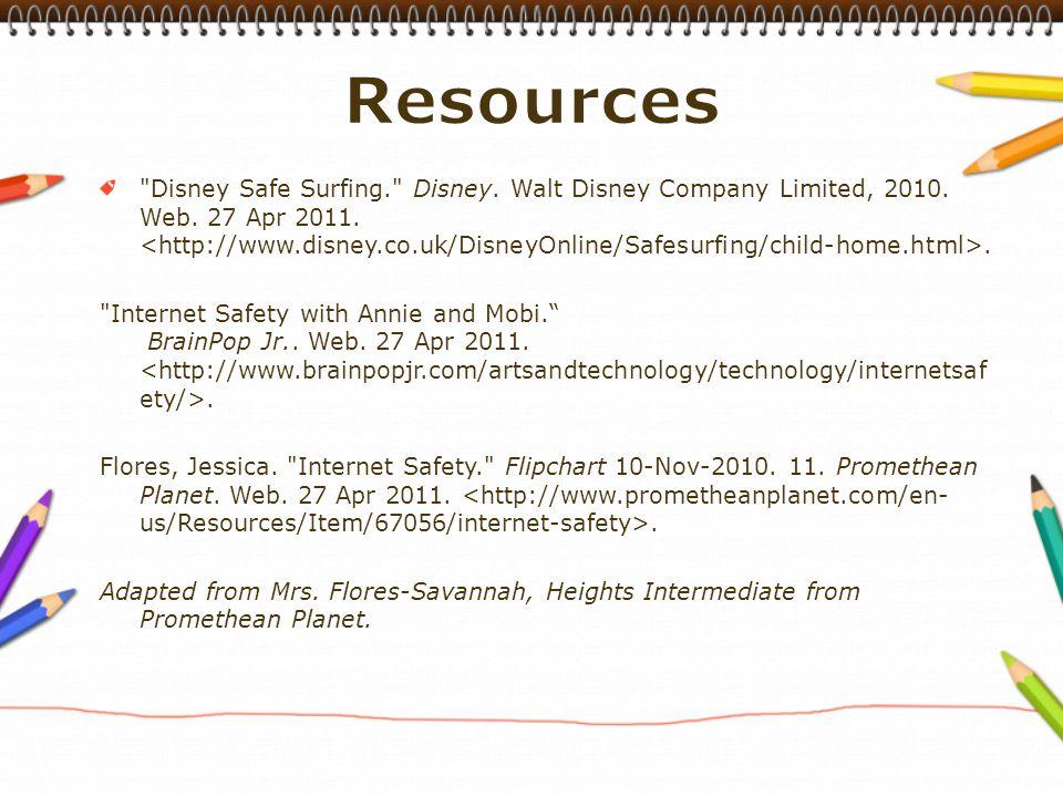 Disney Safe Surfing. Disney. Walt Disney Company Limited, 2010.