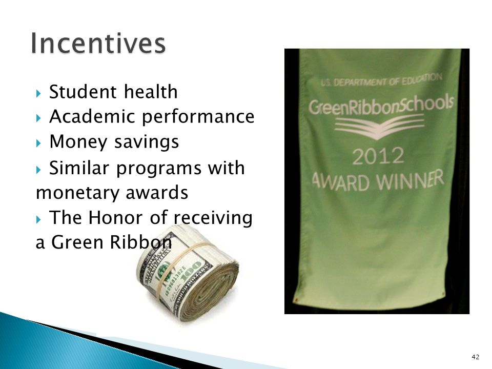  Student health  Academic performance  Money savings  Similar programs with monetary awards  The Honor of receiving a Green Ribbon 42