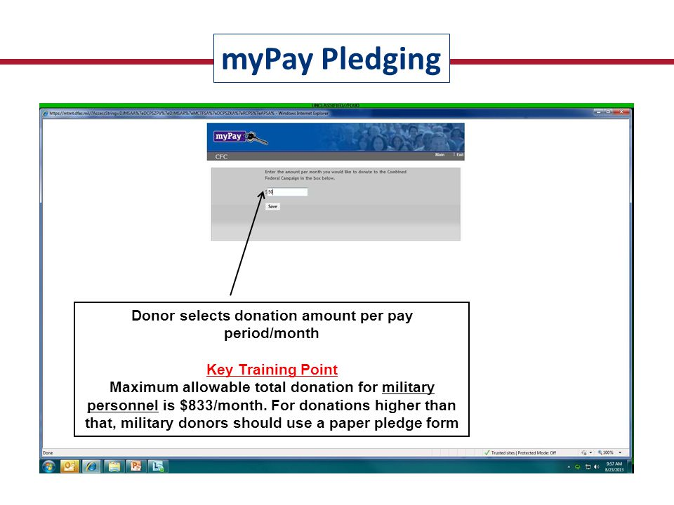 Pledge summary is displayed; undesignated funds are automatically calculated and displayed Key Turn-In Training Point For an organization's pledges to be properly credited the donor MUST enter the Command/Unit or Federal Agency/Office Code Unit Codes provided on back side of epledging flyer myPay Pledging Each KW MUST communicate agency/unit code for their organization to potential donors