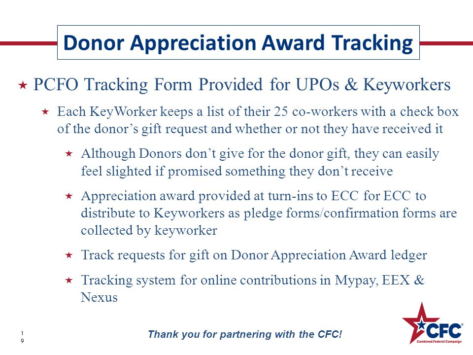 Appreciation Award 20 Thank you for partnering with the CFC!