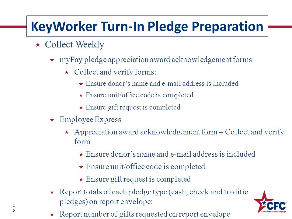 KeyWorker Turn-In Pledge Preparation 26  Collect Weekly  myPay pledge appreciation award acknowledgement forms  Collect and verify forms:  Ensure