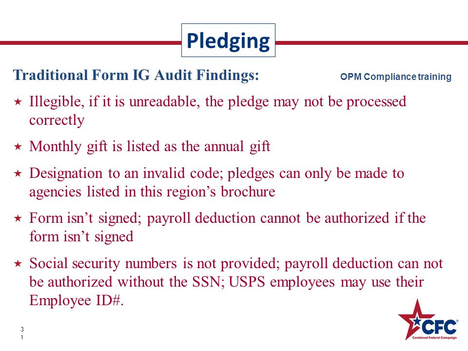 Pledging 31 Traditional Form IG Audit Findings: OPM Compliance training  Illegible, if it is unreadable, the pledge may not be processed correctly 