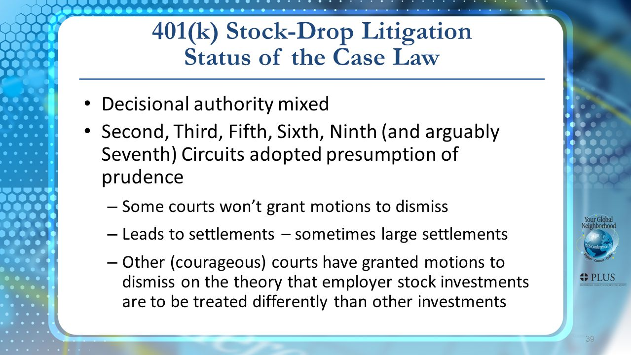 401(k) Stock-Drop Litigation Status of the Case Law 39 Decisional authority mixed Second, Third, Fifth, Sixth, Ninth (and arguably Seventh) Circuits adopted presumption of prudence – Some courts won't grant motions to dismiss – Leads to settlements – sometimes large settlements – Other (courageous) courts have granted motions to dismiss on the theory that employer stock investments are to be treated differently than other investments