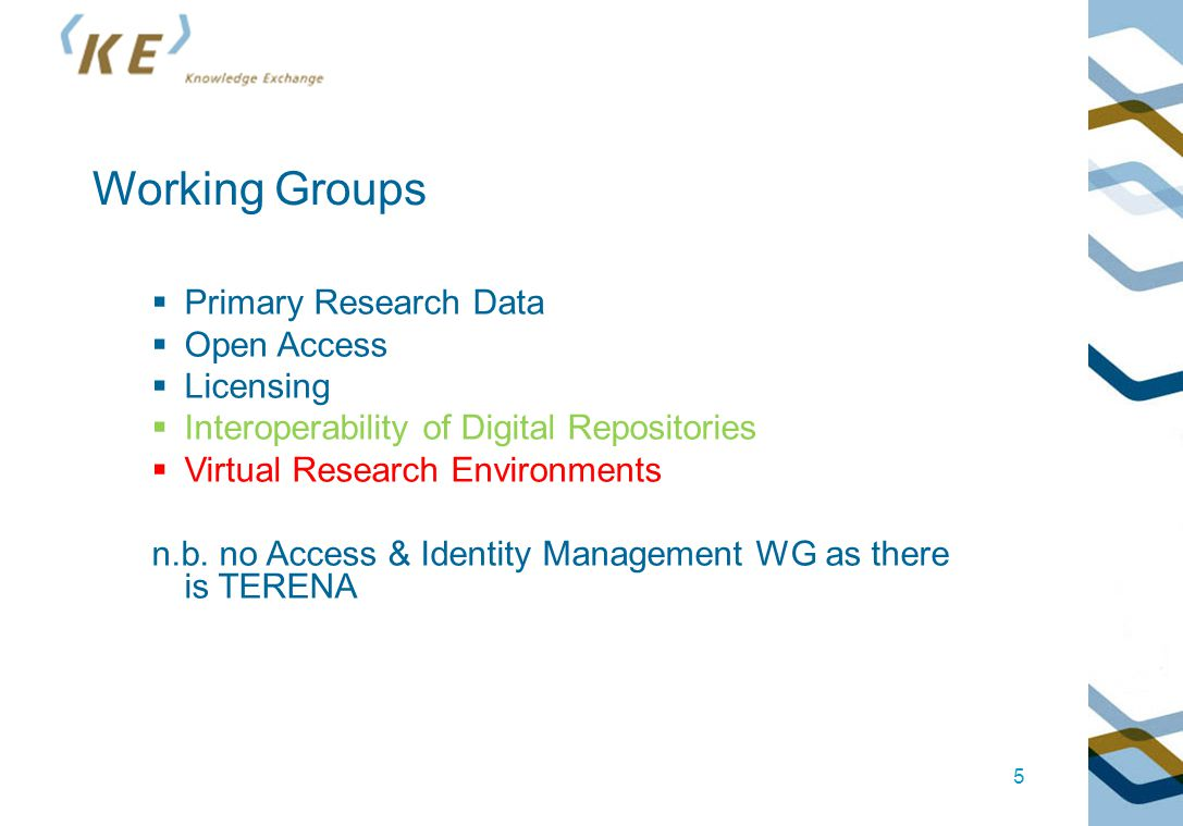 5 Working Groups  Primary Research Data  Open Access  Licensing  Interoperability of Digital Repositories  Virtual Research Environments n.b.