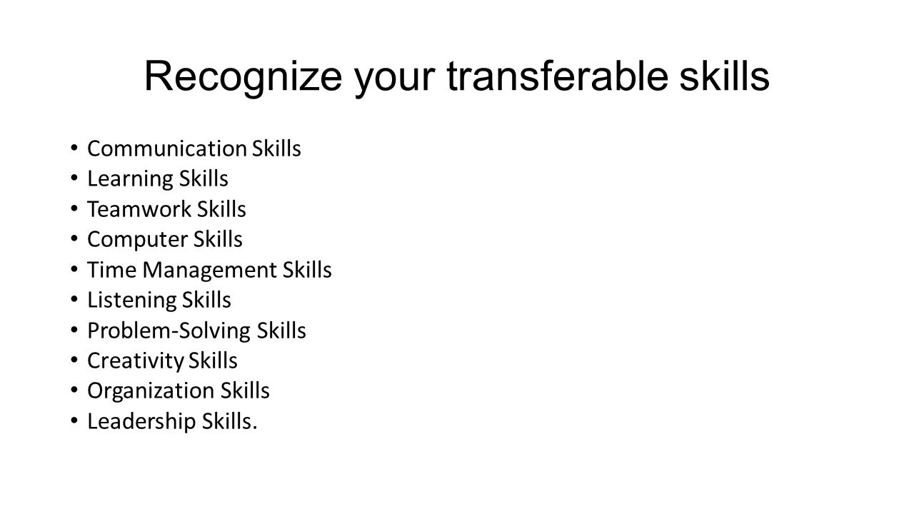 Recognize your transferable skills Communication Skills Learning Skills Teamwork Skills Computer Skills Time Management Skills Listening Skills Problem-Solving Skills Creativity Skills Organization Skills Leadership Skills.
