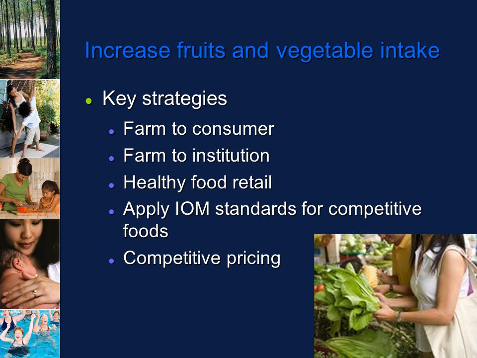 Increase fruits and vegetable intake ● Key strategies Farm to consumer Farm to consumer Farm to institution Farm to institution Healthy food retail Healthy food retail Apply IOM standards for competitive foods Apply IOM standards for competitive foods Competitive pricing Competitive pricing
