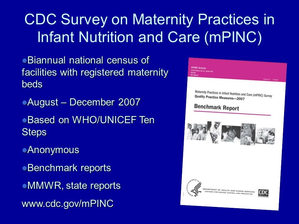 CDC Survey on Maternity Practices in Infant Nutrition and Care (mPINC) Biannual national census of facilities with registered maternity beds Biannual national census of facilities with registered maternity beds August – December 2007 August – December 2007 Based on WHO/UNICEF Ten Steps Based on WHO/UNICEF Ten Steps Anonymous Anonymous Benchmark reports Benchmark reports MMWR, state reports MMWR, state reportswww.cdc.gov/mPINC