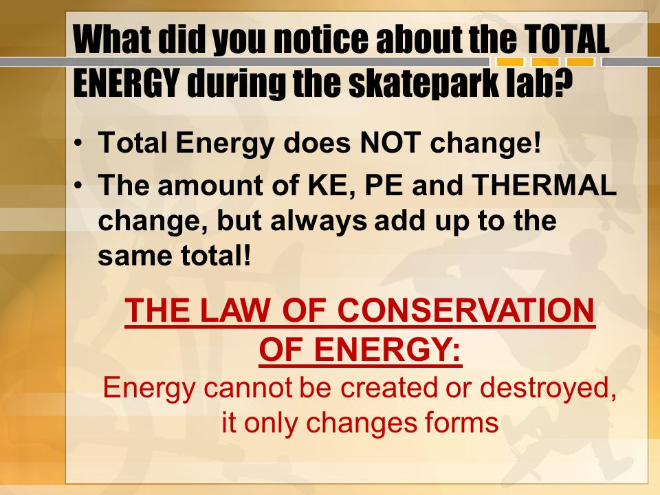 What did you notice about the TOTAL ENERGY during the skatepark lab.