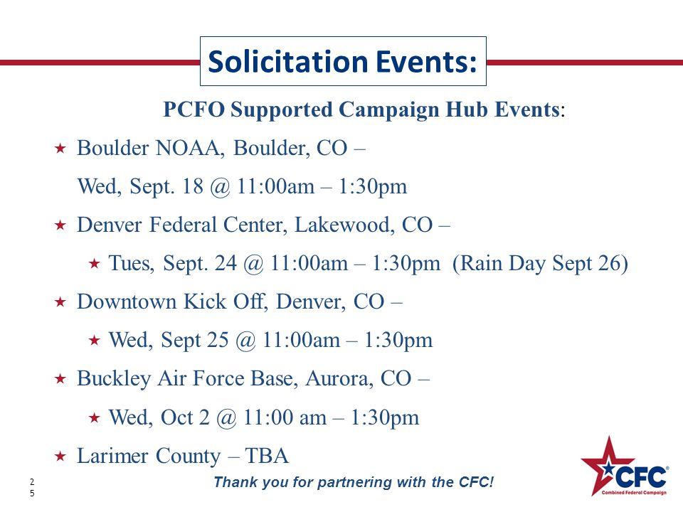PCFO Supported Campaign Hub Events:  Boulder NOAA, Boulder, CO – Wed, Sept.