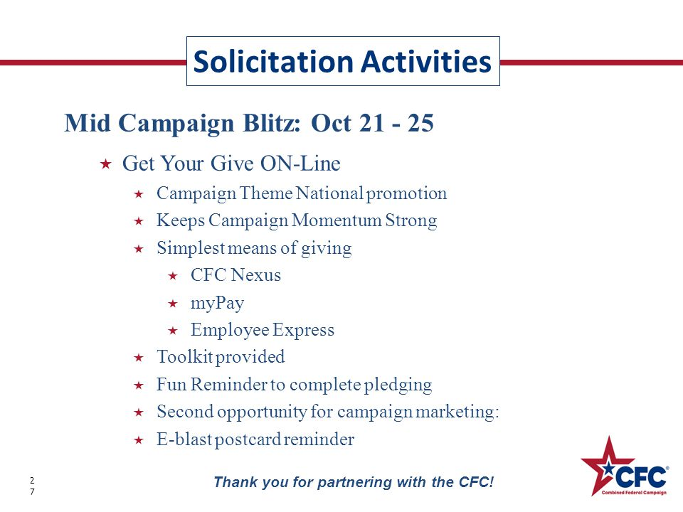 Solicitation Activities 27 Thank you for partnering with the CFC.