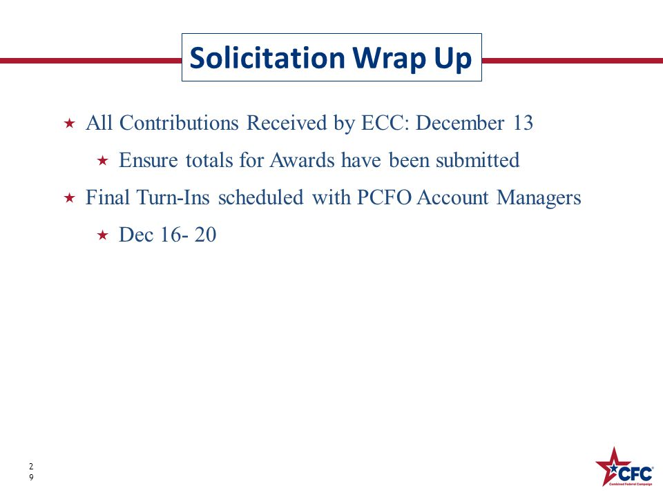 Solicitation Wrap Up 29  All Contributions Received by ECC: December 13  Ensure totals for Awards have been submitted  Final Turn-Ins scheduled with PCFO Account Managers  Dec 16- 20