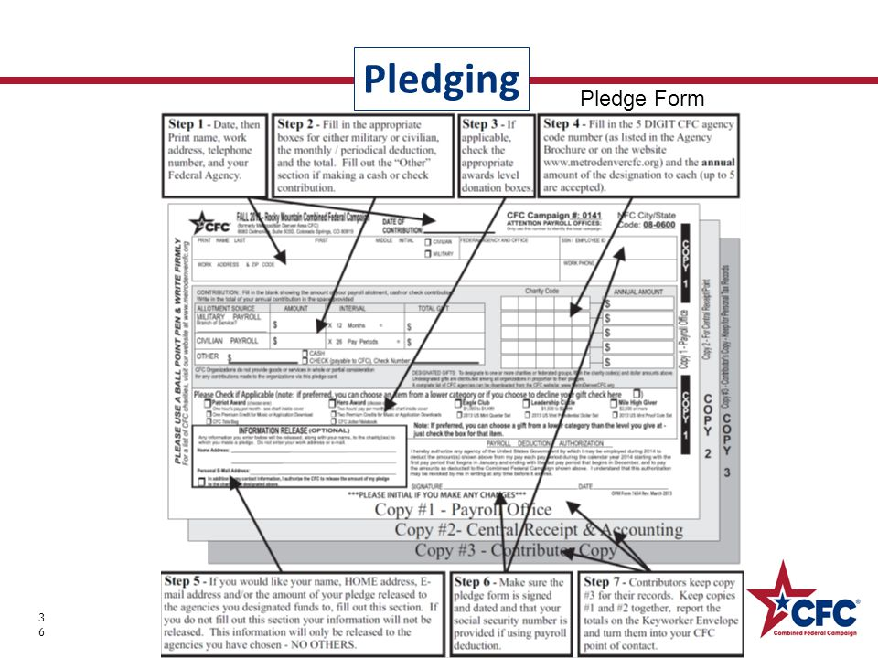 Pledging 36 Thank you for partnering with the CFC! Pledge Form