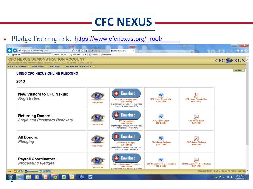CFC NEXUS 39  Pledge Training link: https://www.cfcnexus.org/_root/https://www.cfcnexus.org/_root/