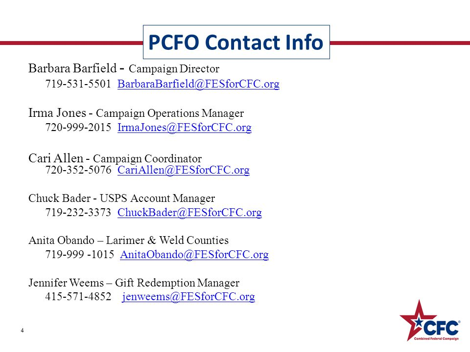 Barbara Barfield - Campaign Director 719-531-5501 BarbaraBarfield@FESforCFC.orgBarbaraBarfield@FESforCFC.org Irma Jones - Campaign Operations Manager 720-999-2015 IrmaJones@FESforCFC.orgIrmaJones@FESforCFC.org Cari Allen - Campaign Coordinator 720-352-5076 CariAllen@FESforCFC.orgCariAllen@FESforCFC.org Chuck Bader - USPS Account Manager 719-232-3373 ChuckBader@FESforCFC.orgChuckBader@FESforCFC.org Anita Obando – Larimer & Weld Counties 719-999 -1015 AnitaObando@FESforCFC.orgAnitaObando@FESforCFC.org Jennifer Weems – Gift Redemption Manager 415-571-4852jenweems@FESforCFC.orgjenweems@FESforCFC.org PCFO Contact Info 4