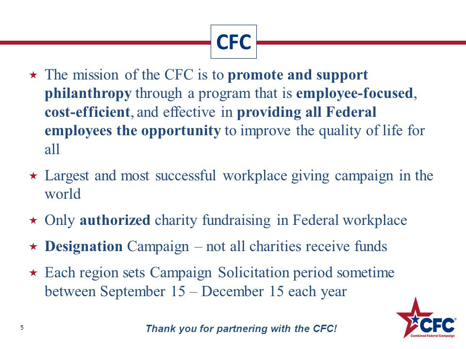 Donor Appreciation Award Tracking 46 Thank you for partnering with the CFC.