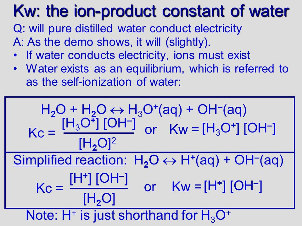 Kw: the ion-product constant of water Q: will pure distilled water conduct electricity A: As the demo shows, it will (slightly).