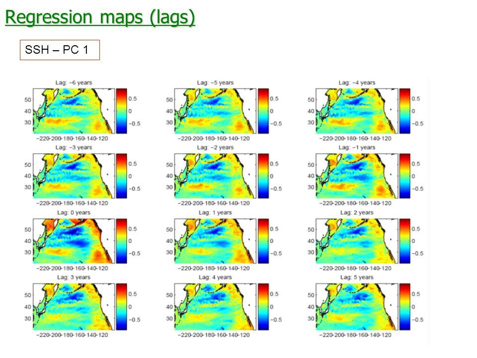 Regression maps (lags) SSH – PC 1
