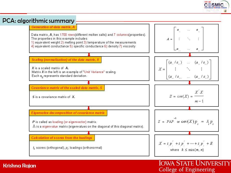 Krishna Rajan PCA: algorithmic summary