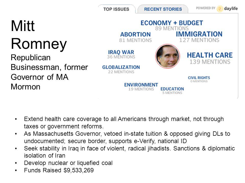 John McCain Republican Military officer, Arizona Senator Episcopalian Focus on health care for veterans.