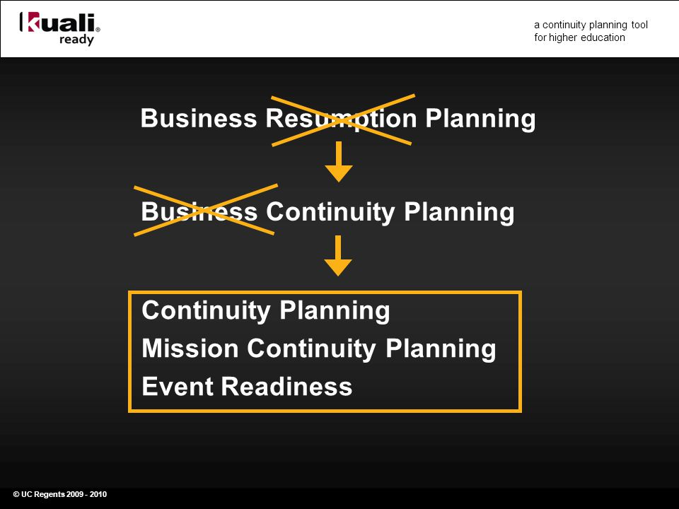 © UC Regents 2009 - 2010 a continuity planning tool for higher education Business Resumption Planning Business Continuity Planning Continuity Planning Mission Continuity Planning Event Readiness