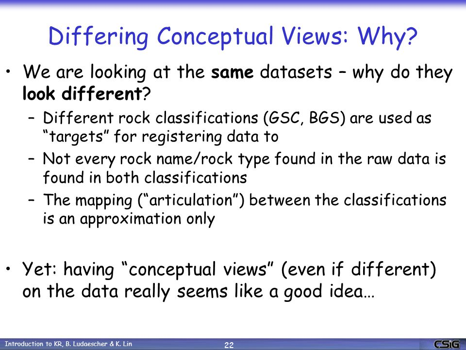 Introduction to KR, B. Ludaescher & K. Lin 22 Differing Conceptual Views: Why.