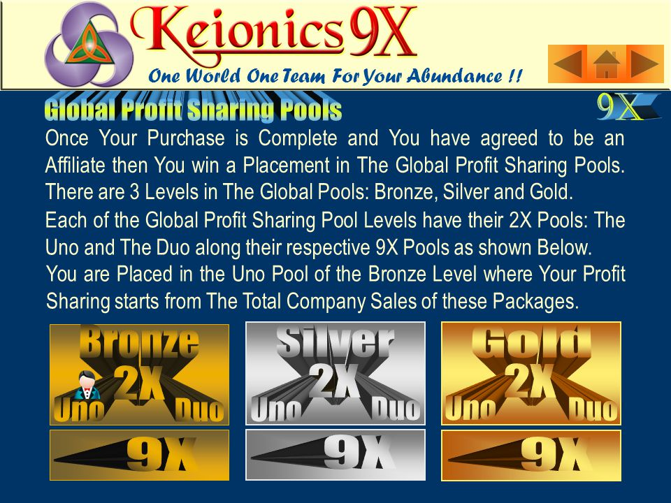 Each of the Global Profit Sharing Pool Levels have their 2X Pools: The Uno and The Duo along their respective 9X Pools as shown Below. Once Your Purch