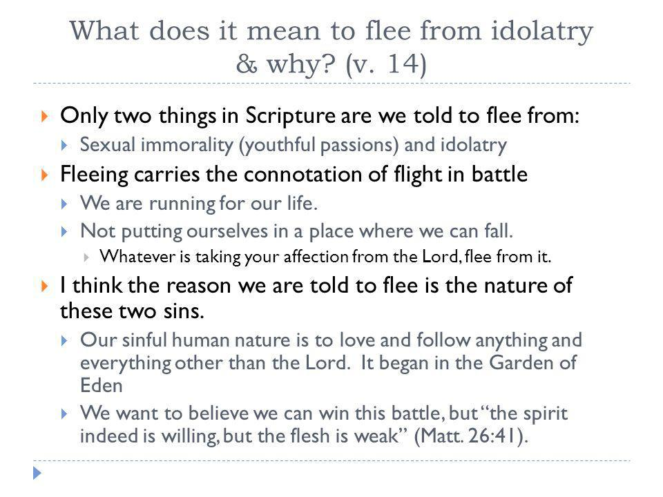 What does it mean to flee from idolatry & why? (v. 14)  Only two things in Scripture are we told to flee from:  Sexual immorality (youthful passions