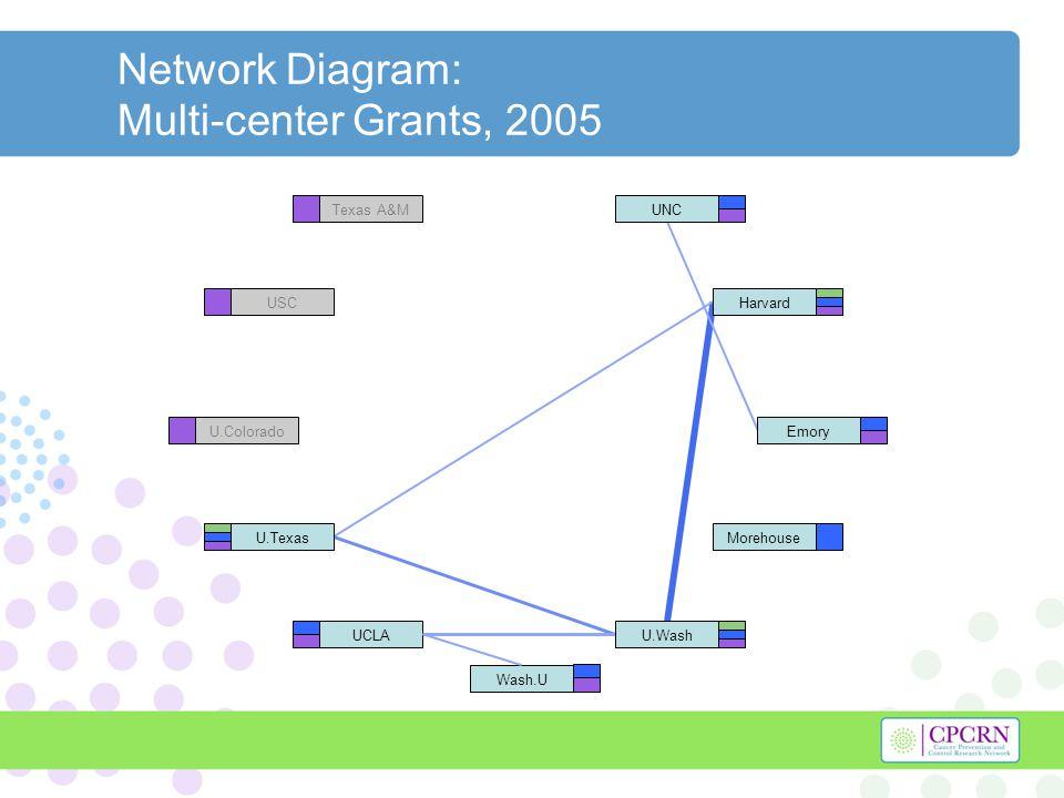 Network Diagram: Multi-center Grants, 2005 Harvard U.Texas U.WashUCLA UNC Morehouse Emory Wash.U Texas A&M USC U.Colorado