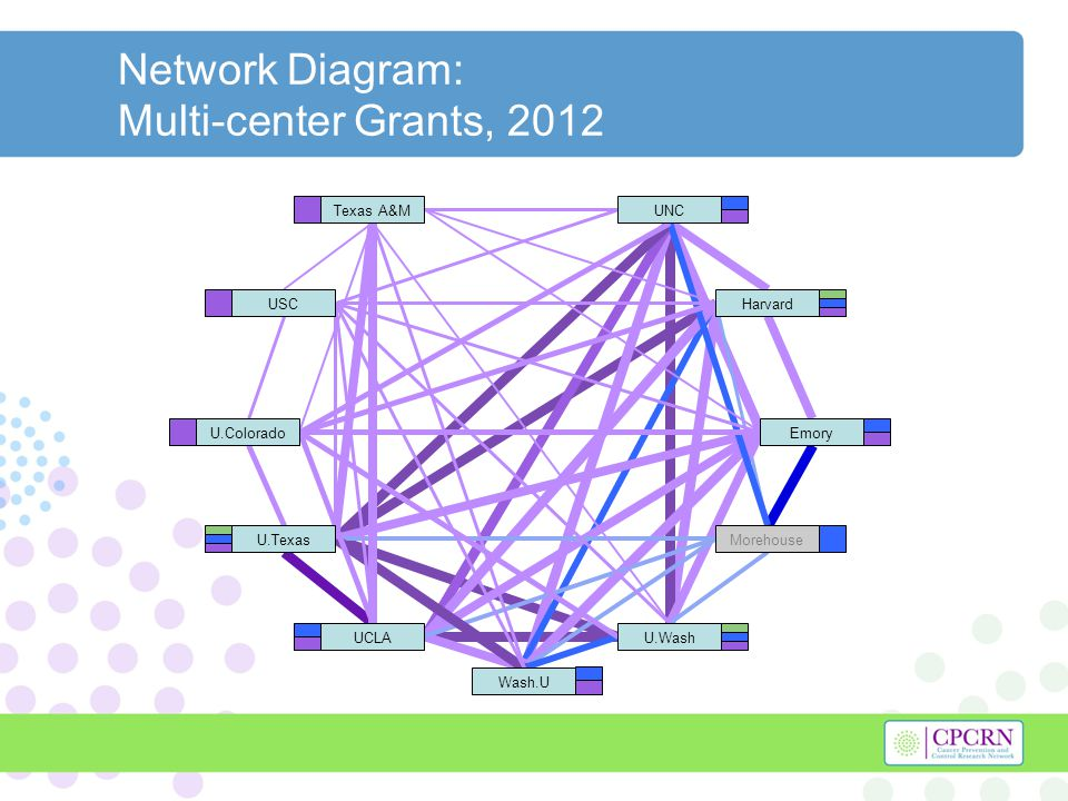 Network Diagram: Multi-center Grants, 2012 Harvard U.Texas U.WashUCLA UNC Morehouse Emory Wash.U Texas A&M USC U.Colorado