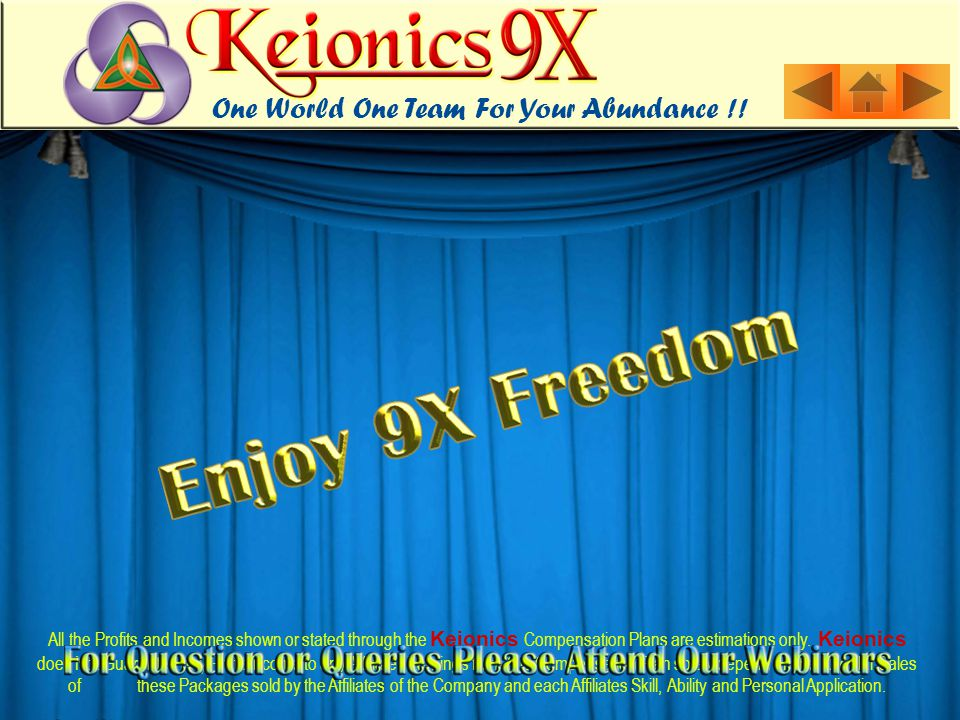 All the Profits and Incomes shown or stated through the Keionics Compensation Plans are estimations only.